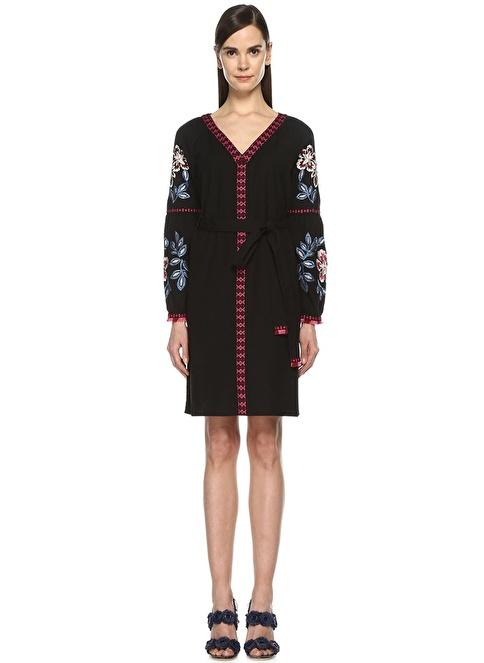Tory Burch V Yaka Çiçek Nakışlı Kısa Elbise Siyah